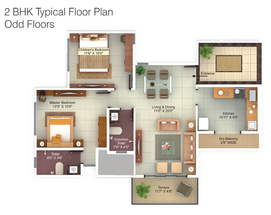 bhk house plan 3d – ...